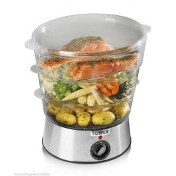 Tower T21001 3-Tier Steamer 5.5 Litre 400 Watt Silver