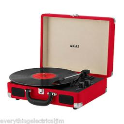 Akai A60011NR Bluetooth Rechargeable Turntable and Case Red