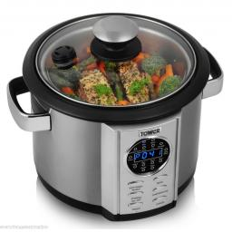 Tower T16006 Silver 5L Multi Cooker with Stirring Paddle