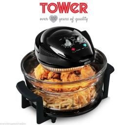 Tower T14001 Low Fat Glass Air Fryer Healthier Cooking Black