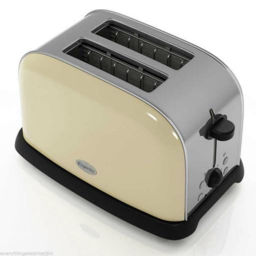 Elgento E447C 2 Slice Toaster Cream Great Kitchen Essential Retro Chic Design