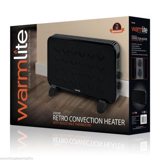 Warmlite WL41005 Retro Convection Heater 2000 Watt Black