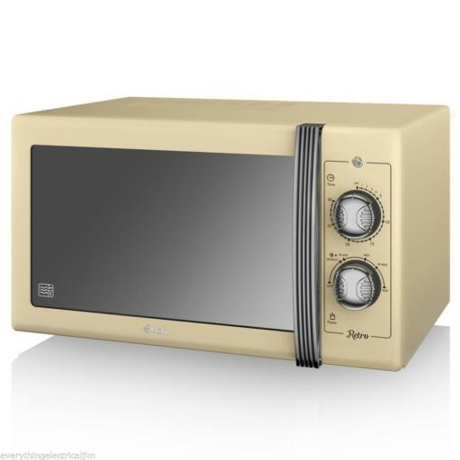 Swan SM22070CN 25 Litre Retro Manual Microwave Cream