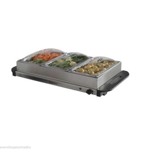 Elgento E322N 3 Tray Buffet Server & Hotplate 200 Watt Silver