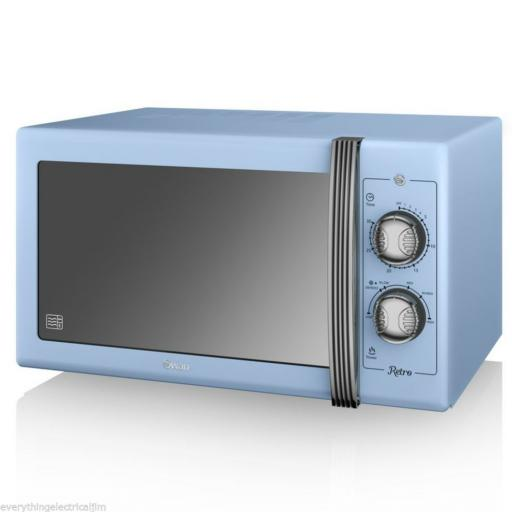 Swan Blue 25 Litre Retro Manual Microwave SM22070BLN