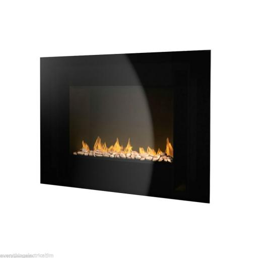 Warmlite WL45008 Flat Glass Wall Fire 1800 Watt Black