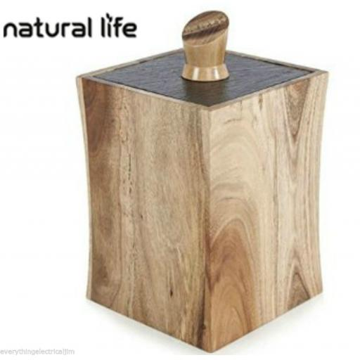 Natural Life NLAS006 Storage Jar with Slate Lid Acacia Wood