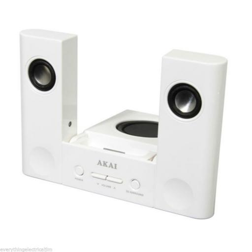 Akai ASD160190BW Sound Stage 3D Speakers Ipod Docking Station White