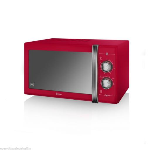 Swan SM22070RN 25 Litre Retro Manual Microwave Red