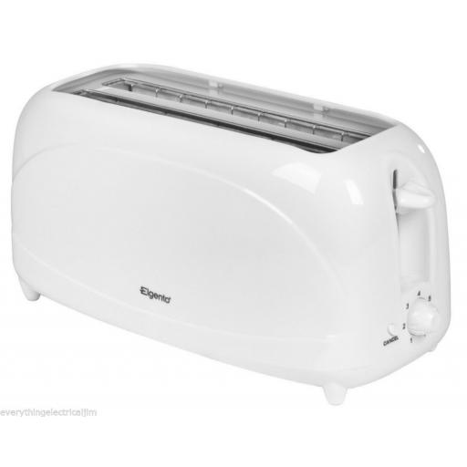 Elgento E20011 4 Slice Long Slot Toaster White Sleek and Stylish