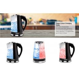 Tower T10012 1.7L Illuminated Colour Changing Kettle LED Light Up Kettle