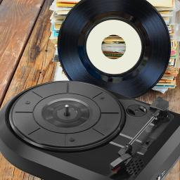 Akai A60008 Turntable with Built-In Speakers, Converts Vinyl to MP3