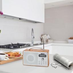 Akai A61018 DAB Radio with LED Screen and Alarm Clock with Sleep Timer - Oak