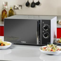 Tower T24011 23L Manual Microwave 900W Silver Black