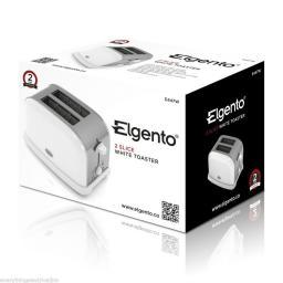 Elgento E447W 2 Slice Toaster White Great Kitchen Essential Retro Chic Design