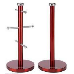 Morphy Richards 974029 Mug Tree and Towel Pole Set Transparent Red