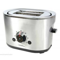 Villaware TSVLTRSL01 Silver 800 Watt 2 Slice Toaster