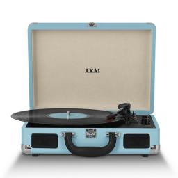 Akai A60011NB Bluetooth Rechargeable Turntable and Case Featuring Bluetooth