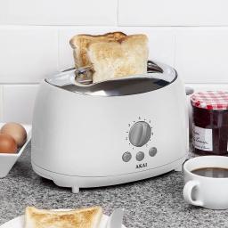 Akai A20001 2 Slice Toaster, 700 W - White Stylish Sleek Cool Touch Finish