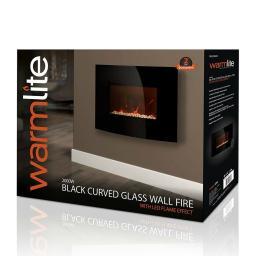 Warmlite WL45022 Curved Glass Wall Fire 2000W Black