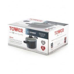 Tower T80807 Porcelain Enamel Coated Casserole 24 cm Black