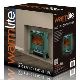 Warmlite WL46014G 1800W Log Effect Stove Fire Green