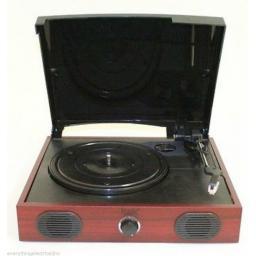 Itek I60007 USB Vinyl Turntable Retro Wood Convert Record To MP3 Speakers