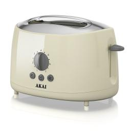Akai A20001C 2 Slice Toaster, 700 W - Cream Stylish Sleek Cool Touch Finish