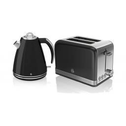 Swan Black Retro Jug Kettle & 2 Slice Toaster Set