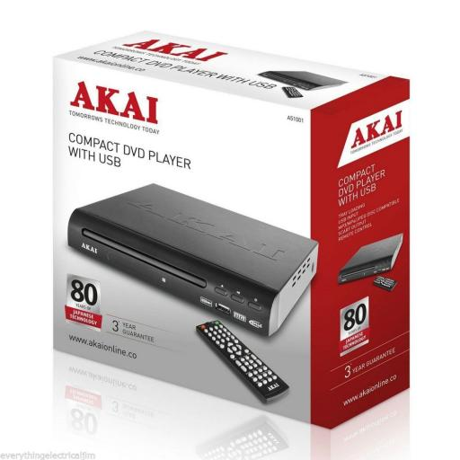 Akai A51002 Compact DVD Player with USB Port Black