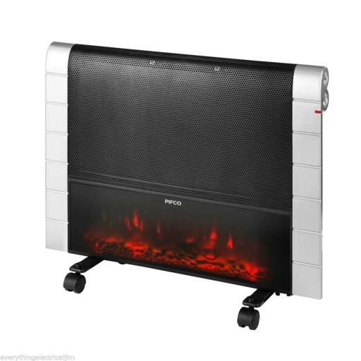 Pifco P46010 Flat Panel Heater 1200 Watt Silver/Black