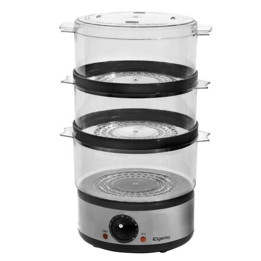 Elgento E240 Stainless Steel Three Tier Round Steamer - 400 W, Silver