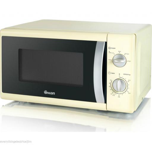 Swan SM40010CREN Solo Microwave 800 Watt 20 Litre Cream