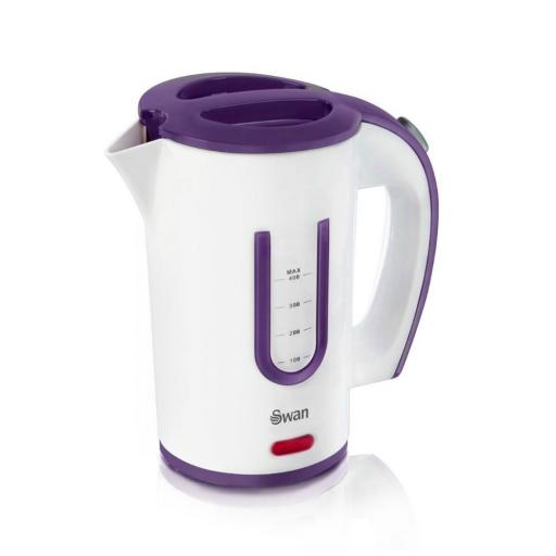 Swan SK27010N Portable Travel Jug Kettle 0.4 Litre 2 Tea Cups White/Purple
