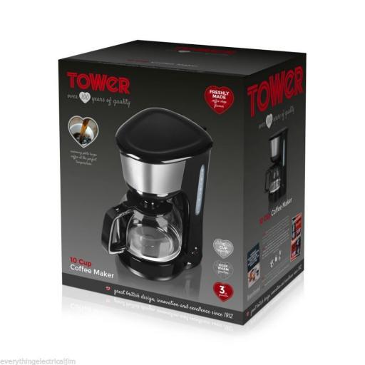 Tower T13001 10 Cup Coffee Percolator 1.25L in Black
