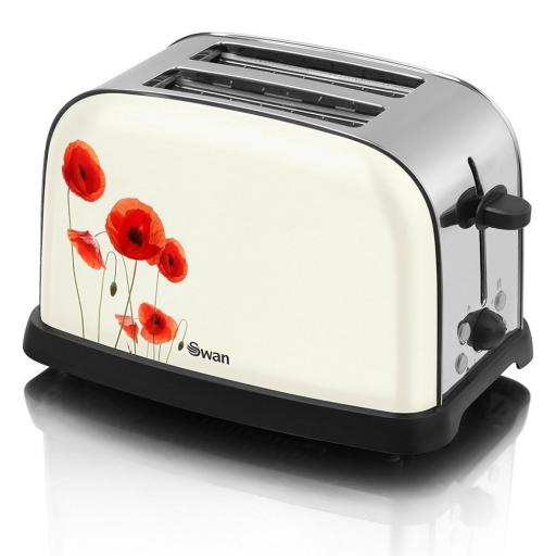Swan ST16020POPN Two Slice Metallic Poppy Design Toaster Floral Design