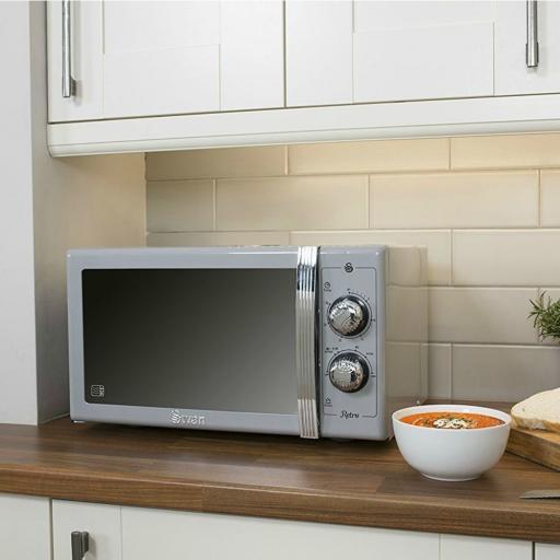 Swan SM22070GRN Retro Manual Microwave 25 Litre 900W Grey
