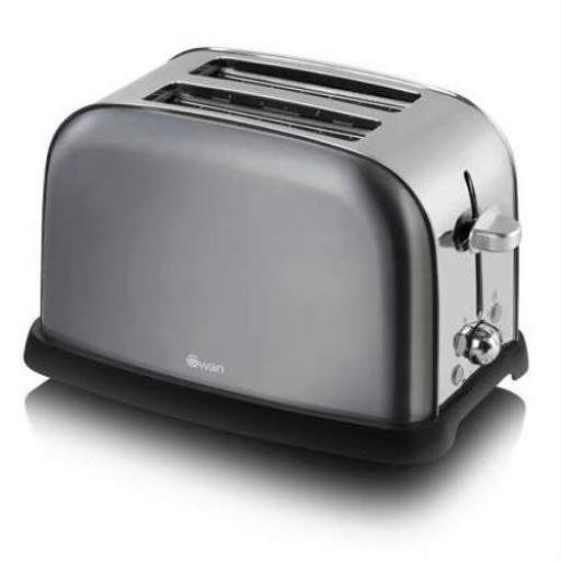 Swan ST16020GRAN 2-Slice Metallic Toaster, Graphite Stylish and Sleek Design