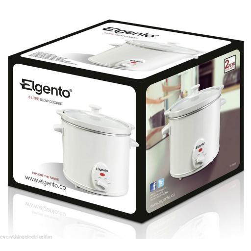 Elgento E16002 Electric Slow Cooker 3 Litre White