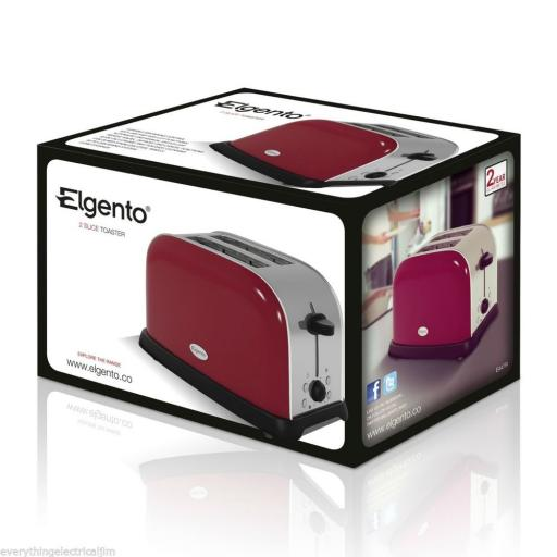 Elgento E447R 2 Slice Toaster Red Great Kitchen Essential Retro Chic Design