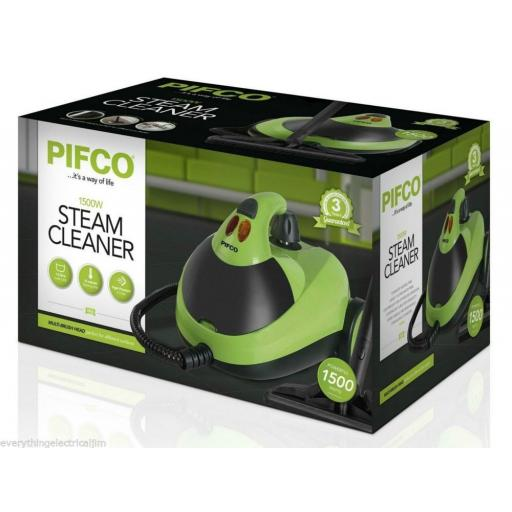 Pifco P29007 Multi Purpose Floor Steam Cleaner 1500 Watt Black/Green