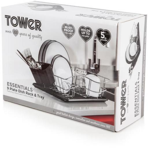Tower Dish Rack T81400 with Chrome Tray, Stainless Steel and Black