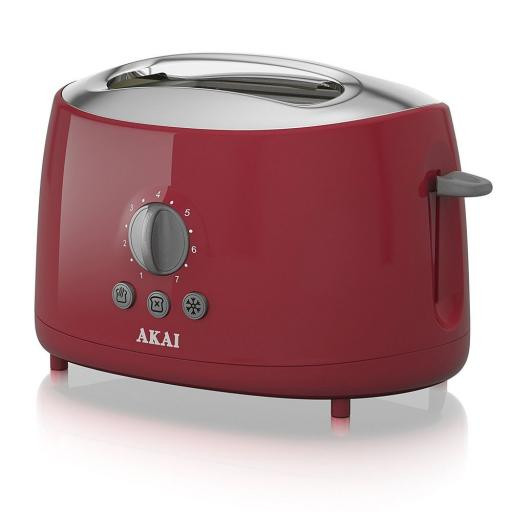 Akai A20001C 2 Slice Toaster, 700 W - RED Red Stylish Sleek Cool Touch Finish