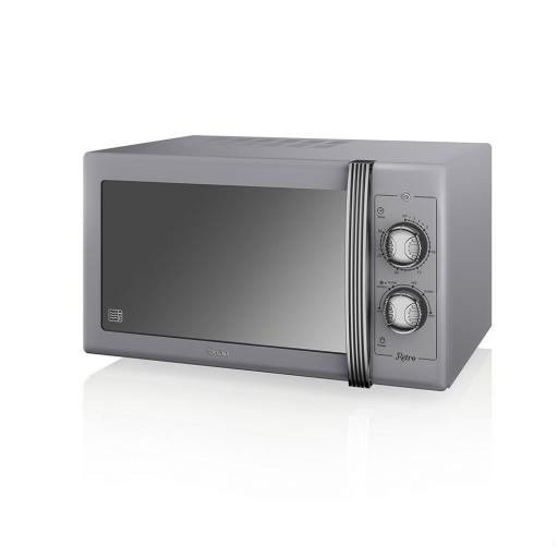 Swan SM22070GRN Retro Manual Microwave 25 Litre 900W Grey