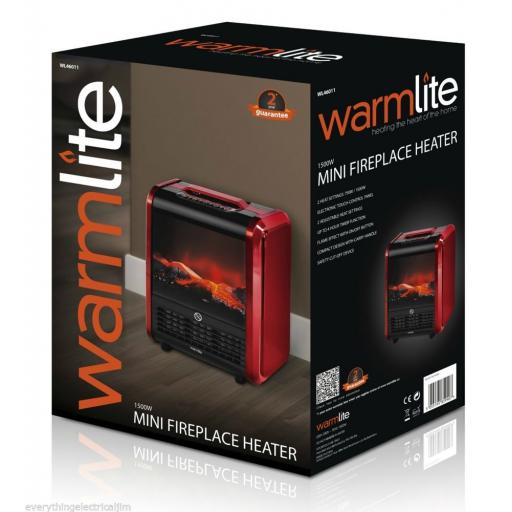 Warmlite WL46011R Mini Fireplace Heater 3D Flame 1500 Watt Red