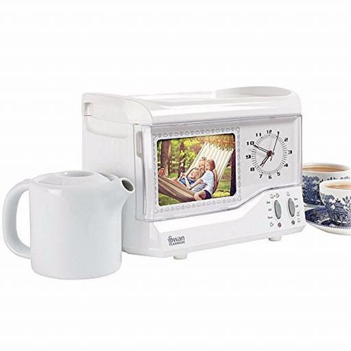 Swan STM202N Vintage Photoframe Teasmade with Alarm Clock White