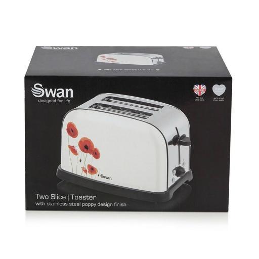 Swan ST16020POPN Two Slice Metallic Poppy Design Toaster Floral Design
