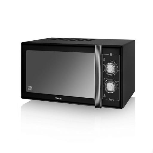 Swan SM22070BN Retro Manual Microwave 25 Litre 900W Black