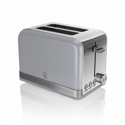 Swan 3 Piece Retro Grey Kitchen Set Kettle, Toaster & Mixer