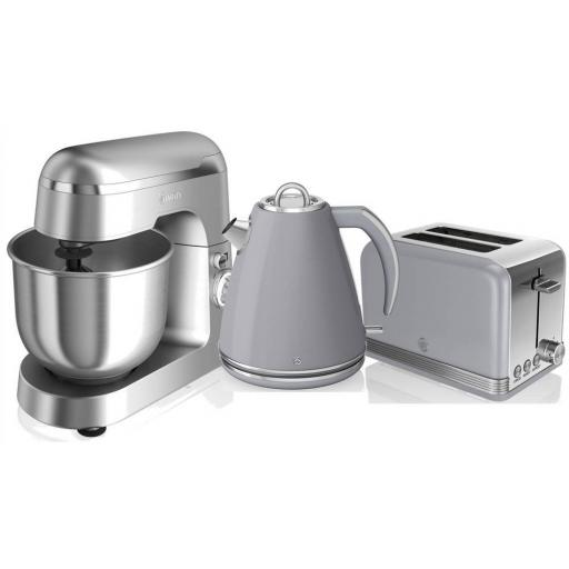 Swan 3 Piece Retro Grey Kitchen Set Kettle, Toaster & Mixer